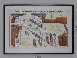 4286 Плакат из двух листов в рамах «9-мм автоматический пистолет Стечкина (АПС)»