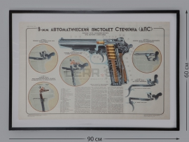4289 Плакат из двух листов в рамах «9-мм автоматический пистолет Стечкина (АПС)»